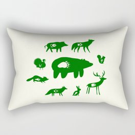Nature Trail in Forest Green and Cream Rectangular Pillow