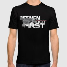 Nice Men Shoot First SMALL Black Mens Fitted Tee