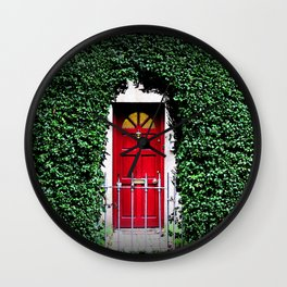 Red Door Winter in Dublin Ireland Christmas Photography Wall Clock