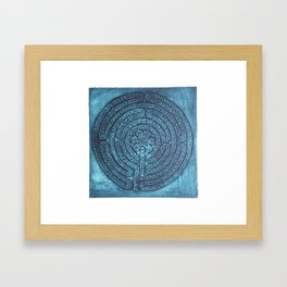 Floral Labyrinth Collagraph Framed Art Print