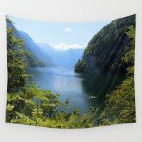 switzerland Wall Tapestries featuring Germany, Malerblick, Koenigssee Lake II by UtArt