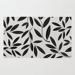 Black and White Plant Leaves Pattern Rug