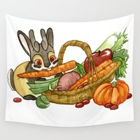jackalope Wall Tapestries featuring November Jackalope by JoJo Seames