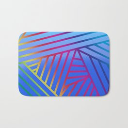 Rainbow Ombre Pattern with Blue Background Bath Mat