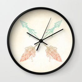 Tribal Arrows Turquoise Coral Gradient Wall Clock