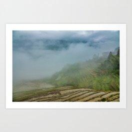 Misty View of Longj Rice Terraces Art Print