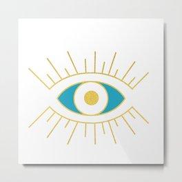 Evil Eye Teal and Gold Metal Print