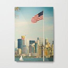 The flag and the city. Ellis Island, New York. Metal Print