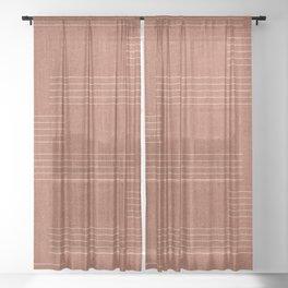 Minimal, Pattern, Boho Prints, Terracotta Sheer Curtain