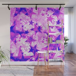 Bright purple iridescent stars on a light background in the projection. Wall Mural