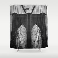 brooklyn bridge Shower Curtains featuring Brooklyn Bridge by Nicklas Gustafsson