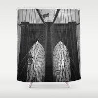 brooklyn Shower Curtains featuring Brooklyn Bridge by Nicklas Gustafsson