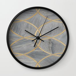 Gray Gold Moraccan Style Pattern Wall Clock