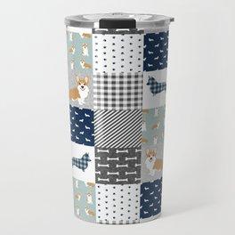 Corgi Patchwork Print - navy, dog, buffalo plaid, plaid, mens corgi dog Travel Mug
