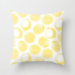 Hand drawn lemon pattern Throw Pillow