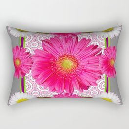 Fuchsia Gerbera & Shasta Daisy  Pink-Grey Pattern Art Rectangular Pillow