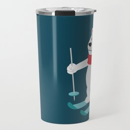 Lets Go Skiing with Mr Polar Bear this Merry Christmas Travel Mug