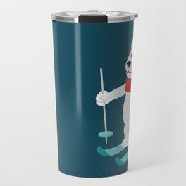 Lets Go Skiing with Mr Polar Bear this Merry Christmas Travel Mug
