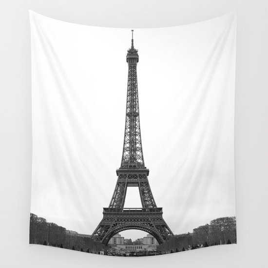 Eiffel Tower in black and white Wall Tapestry