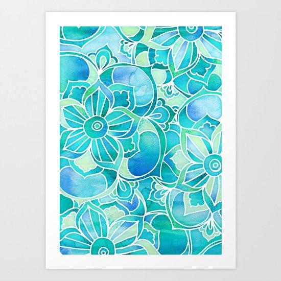 Aqua & Emerald - blue, turquoise & mint green floral design Art Print
