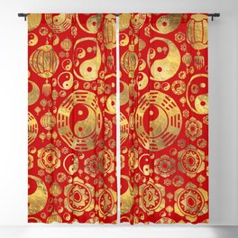 The Bagua -Pa Kua and Chinese lucky symbols pattern Blackout Curtain