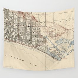 Vintage Map of Long Beach California (1923) Wall Tapestry