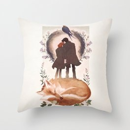 Fable of Mulder and Scully Throw Pillow