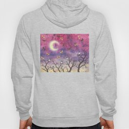 chickadees and io moths in the moonlit sky Hoody
