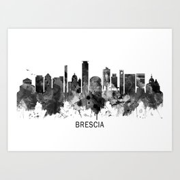 Brescia Italy Skyline BW Art Print