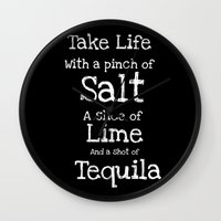 tequila Wall Clocks featuring Tequila by  Alexia Miles photography