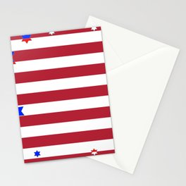PATRIOTIC JULY 4TH  RED STARS DECORATIVE DESIGN Stationery Cards