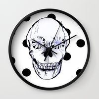 pushing daisies Wall Clocks featuring Pushing Daisies by nessieness