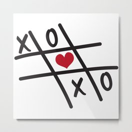 Tic Tac Toe XOXO and Red Heart Metal Print