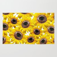 sunflowers Area & Throw Rugs featuring Sunflowers by Regan's World