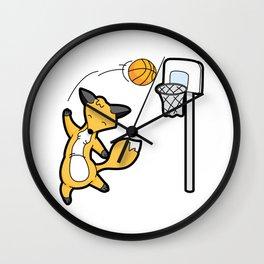 Basketball Playing Happy Fox Wall Clock