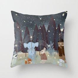 little falling stars Throw Pillow