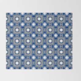 Blue white and grey square floral Throw Blanket