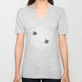 Bee Dance Mandala A - White Unisex V-Neck