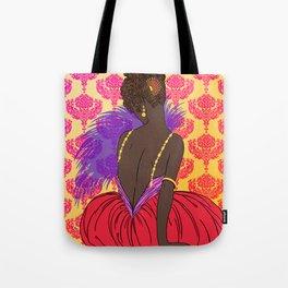 Art Deco Lady with Damask - BIANCA: Boho Summer Tote Bag