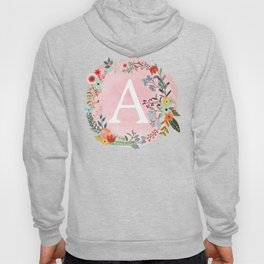 Flower Wreath with Personalized Monogram Initial Letter A on Pink Watercolor Paper Texture Artwork Hoody