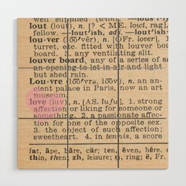 Love Dictionary Page With Sketchy Pink Heart Wood Wall Art