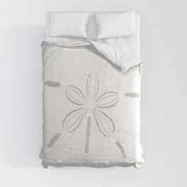Sand Dollar Dreams - Brown on White Comforters