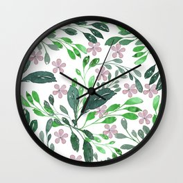 Forest green blush pink watercolor floral Wall Clock