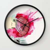 bright Wall Clocks featuring Bright Pink  by Jenny Liz Rome