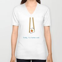 sushi V-neck T-shirts featuring sushi by kigen