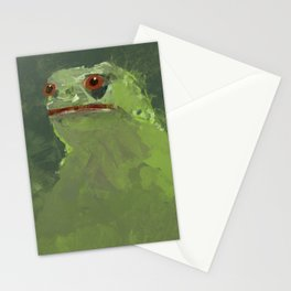 Frog simple illustration texture painting pepe Stationery Cards