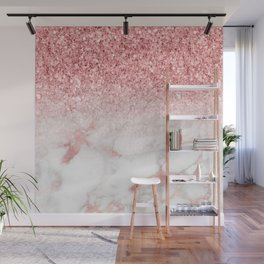 Rose-gold faux glitter and marble ombre Wall Mural