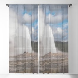 Geyser Starting to Blow Sheer Curtain