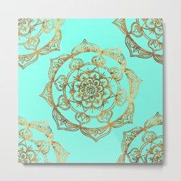 Turquoise & Gold Mandalas Metal Print