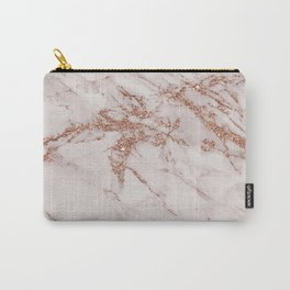 Trendy elegant rose gold glitter gray marble Carry-All Pouch